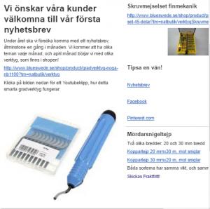 Bluswede Trading nyhetsbrev skärmdump